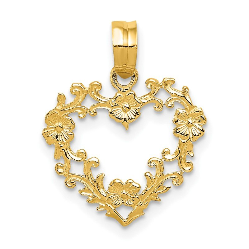 J.F. Kruse Signature Collection 14K Polished Floral Border Heart Pendant