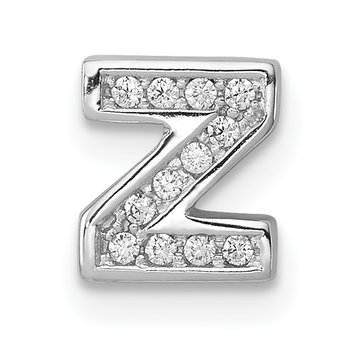 Sterling Silver Rhodium-plated CZ Letter Z Initial Slide Charm