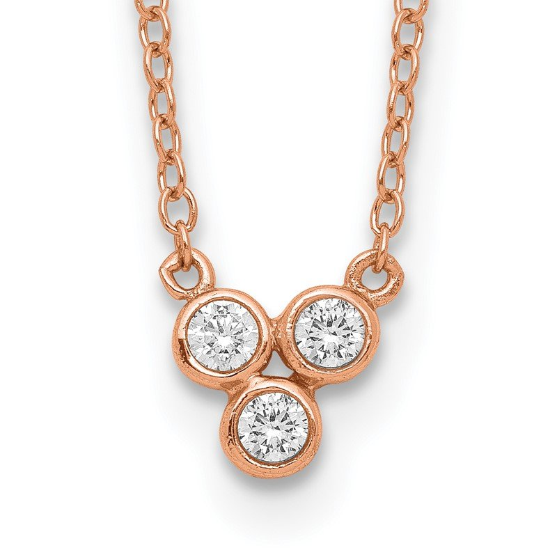 Quality Gold Sterling Silver Rose-tone 3-CZ w/ 2in ext Necklace
