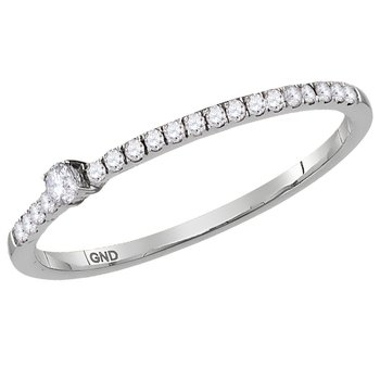 10kt White Gold Womens Round Diamond Solitaire Stackable Band Ring 1/6 Cttw