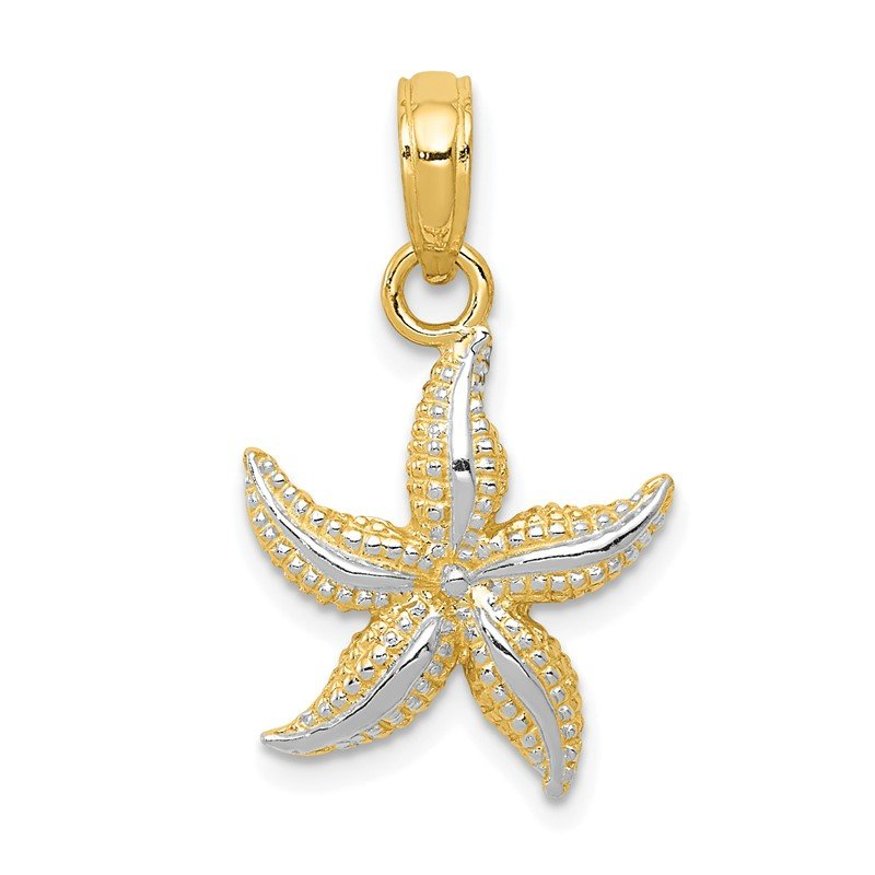 Quality Gold 14K with White Rhodium Starfish Pendant