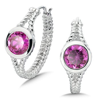 Sterling Silver Created Pink Sapphire Essentials Hoop Earrings