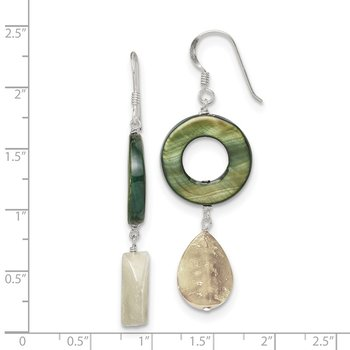 Sterling Silver Jade/Green Mother of Pearl Earrings