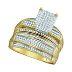 Kingdom Treasures 10kt Yellow Gold His & Hers Round Diamond Rectangle Cluster Matching Bridal Wedding Ring Band Set 3/4 Cttw