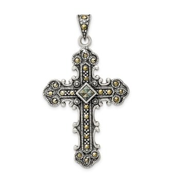 Sterling Silver Antiqued Marcasite Cross Pendant