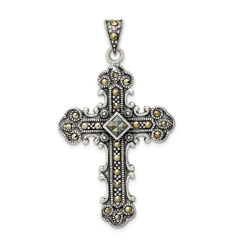 Quality Gold Sterling Silver Antiqued Marcasite Cross Pendant