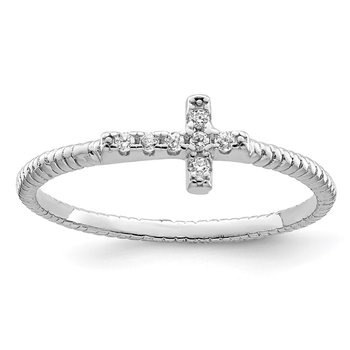 Sterling Silver Rhodium-plated Polished & Textured CZ Cross Ring
