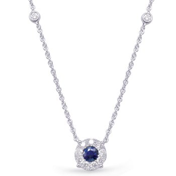 White Gold Diamond & Sapphire Necklace