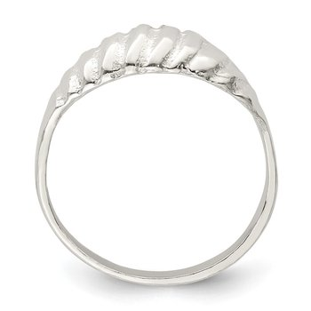 Sterling Silver Diamond-cut Domed Ring