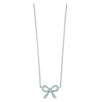 Diamond Mini Bow Necklace in 14k White Gold with 22 Diamonds weighing .10ct tw.