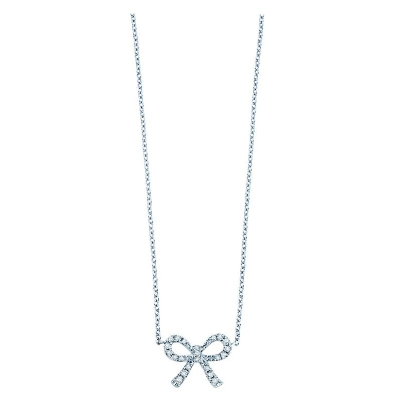 KC Designs Diamond Mini Bow Necklace in 14k White Gold with 22 Diamonds weighing .10ct tw.