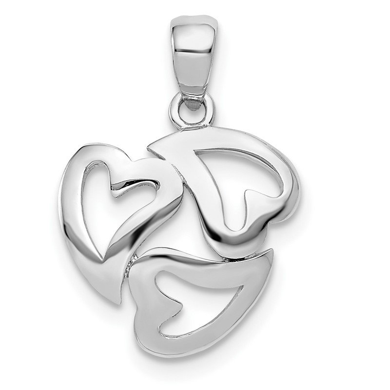14k White Gold Polished Cut-out 3-Heart Pendant