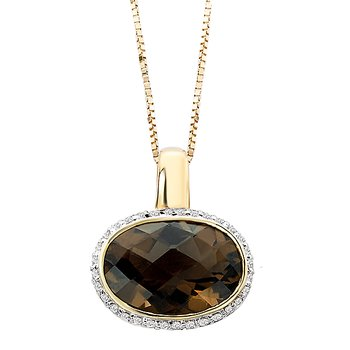 Diamond Smoky Quartz Pendant