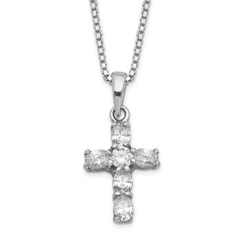 Sterling Silver Rhodium-plated CZ Cross on 16 Box Chain Necklace