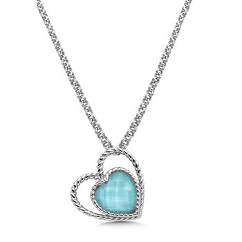 Sterling silver and turquoise fusion heart pendant