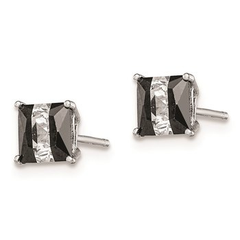 Sterling Silver RH-plated Black/White CZ 5mm Square Post Earrings