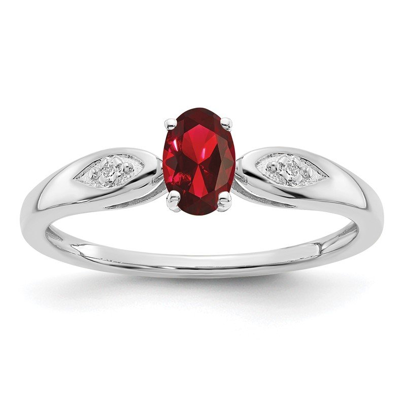 Quality Gold 14k White Gold Garnet and Diamond Ring