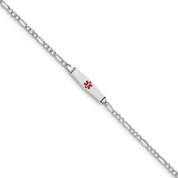 14k WG Medical Semi-Solid Soft Diamond Shape Red Enamel Figaro ID Bracelet