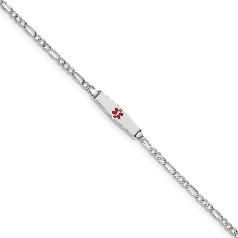 Quality Gold 14k WG Medical Semi-Solid Soft Diamond Shape Red Enamel Figaro ID Bracelet