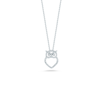 18Kt Gold Owl Pendant With Diamonds