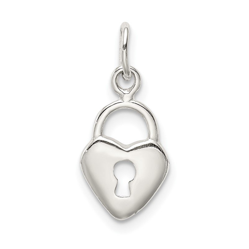 Quality Gold Sterling Silver Polished Diamond-cut Heart Lock Charm