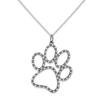 Diamond Jumbo Dog Paw Necklace in 14k White Gold with 66 Diamonds weighing .33ct tw