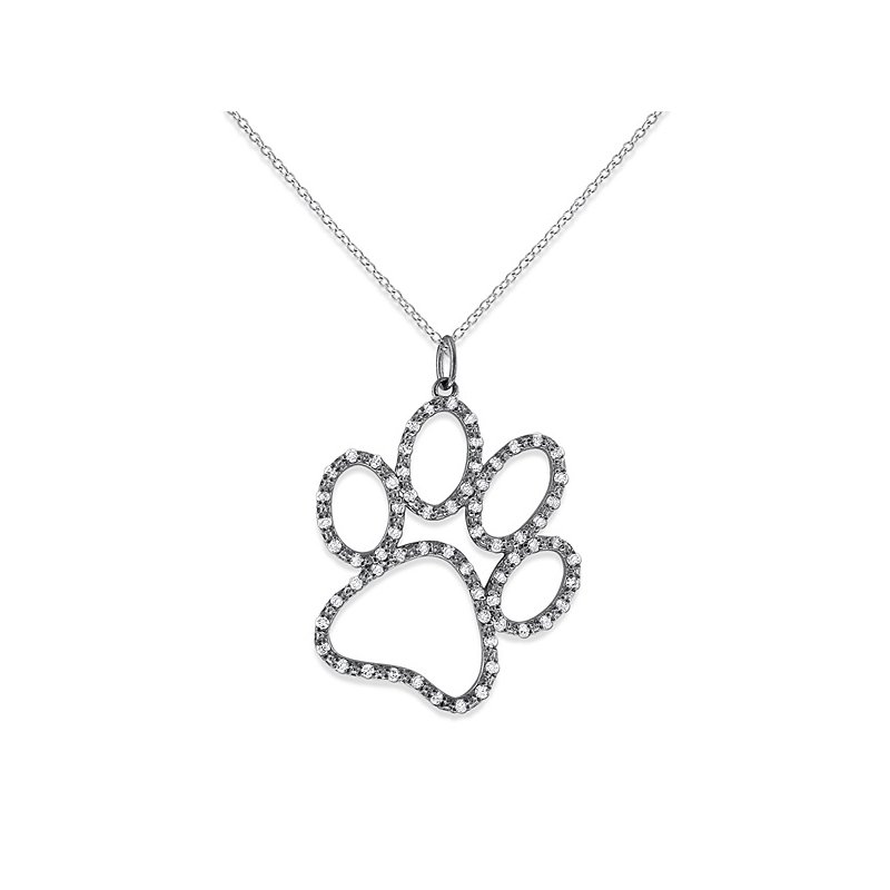KC Designs Diamond Jumbo Dog Paw Necklace in 14k White Gold with 66 Diamonds weighing .33ct tw