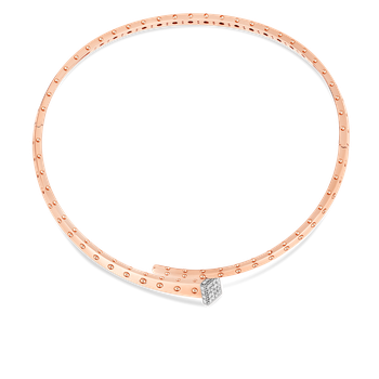 18Kt Gold Chiodo Collar With Diamonds
