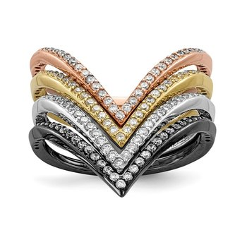 Sterling Silver Rhodium & Black-plate, Gold & Rose-tone CZ 4 Ring Set