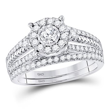 10kt White Gold Womens Round Diamond Bridal Wedding Engagement Ring Band Set 7/8 Cttw