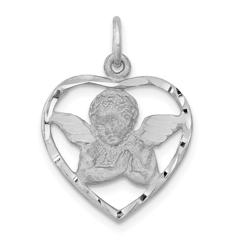 Quality Gold 14k White Gold Angel in Heart Charm