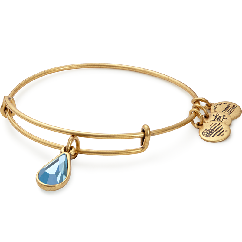 Alex and Ani Swarovski Teardrop Color Code EWB, Mar, Aquamarine Color