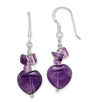 Sterling Silver Amethyst Heart Dangle Earrings