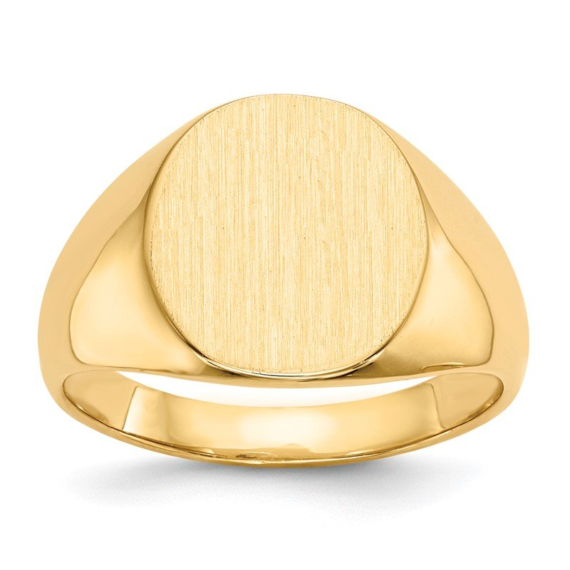 Quality Gold 14k 13x12mm Closed Back Mens Signet Ring