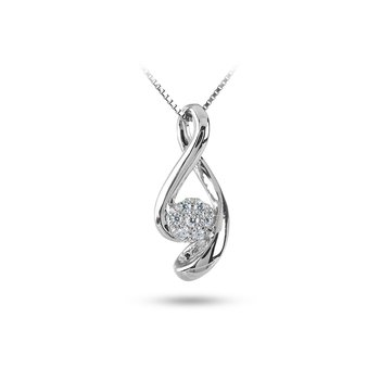 10K WG Cluster Diamond Infinity Slider Pendant in Prong Setting