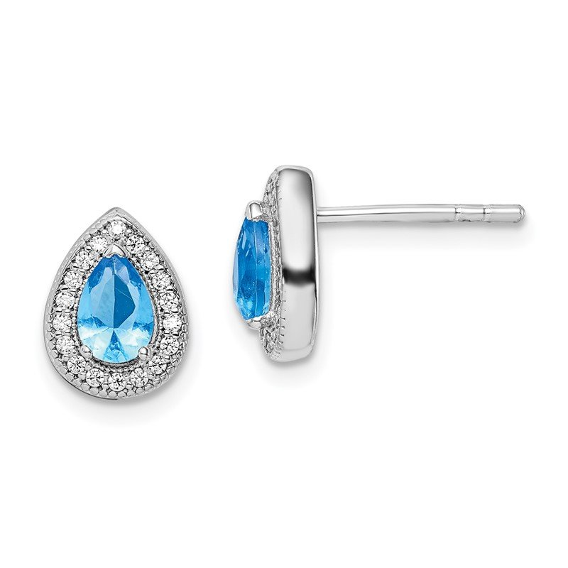Quality Gold Sterling Silver Rhodium Plated Blue and Clear CZ Post Earrings