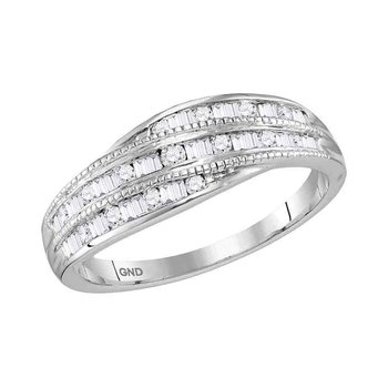 10kt White Gold Womens Round Baguette Diamond Band Ring 1/3 Cttw