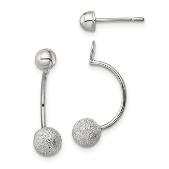 Sterling Silver Polished Laser-cut Bead Jackets w/Button Earrings