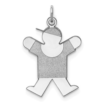 Sterling Silver Rhodium-plated Joy Kid Charm