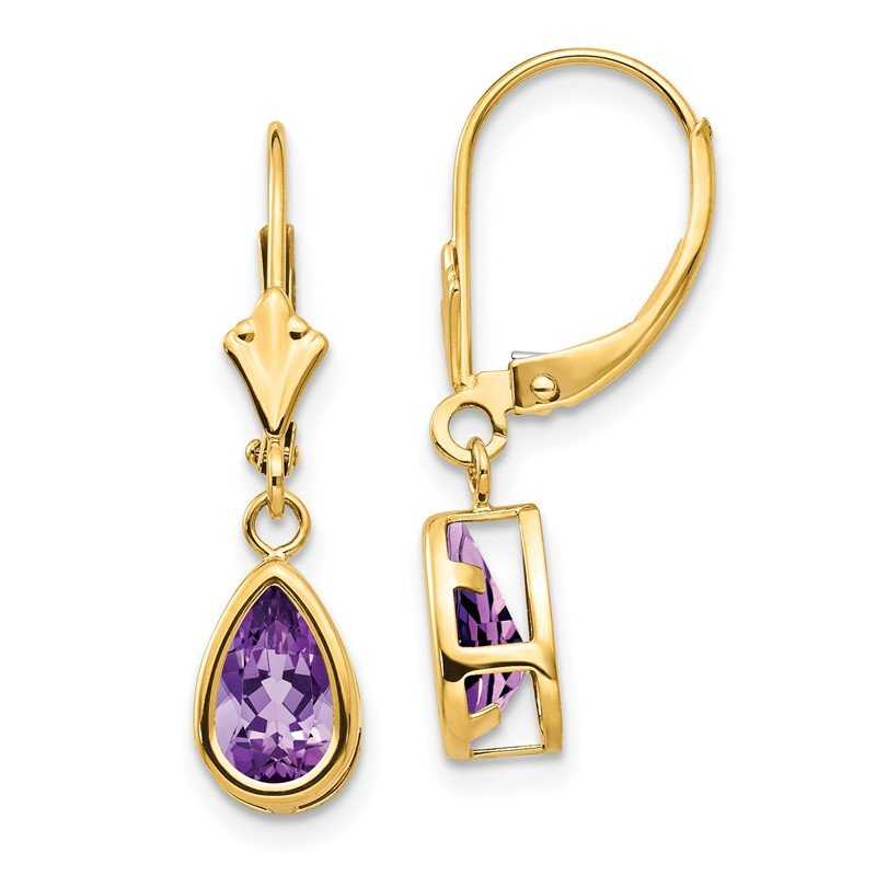 Quality Gold 14k 8x5mm Amethyst Dangle Earrings