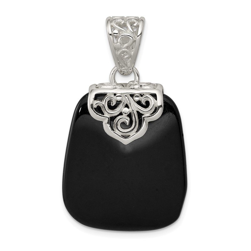 Quality Gold Sterling Silver Black Onyx Pendant