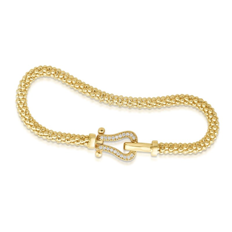 Royal Chain 14K Gold Popcorn Diamond Buckle Bracelet