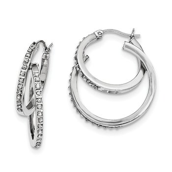 Sterling Silver Diamond Mystique Double Hoop Earrings