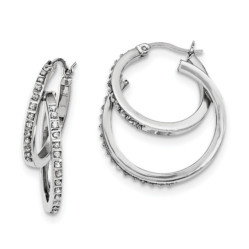 Quality Gold Sterling Silver Diamond Mystique Double Hoop Earrings