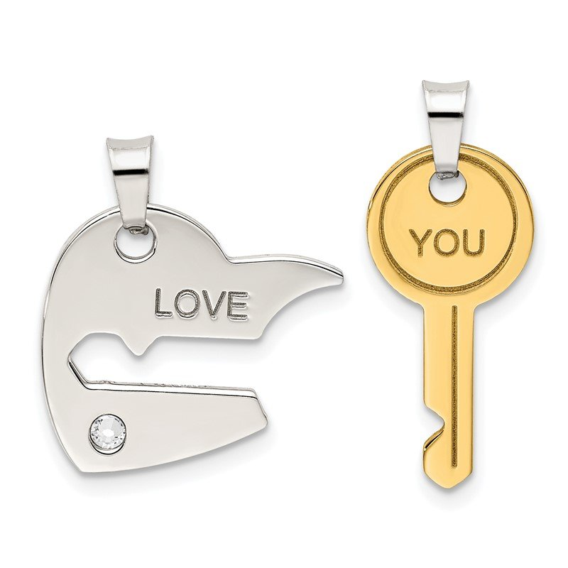 Quality Gold Sterling Silver & Gold-tone Crystal Heart/Key Breakapart Pendant
