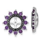 Quality Gold Sterling Silver Rhodium Amethyst & Black Sapphire Earring Jacket