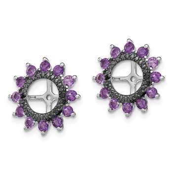 Sterling Silver Rhodium Amethyst & Black Sapphire Earring Jacket