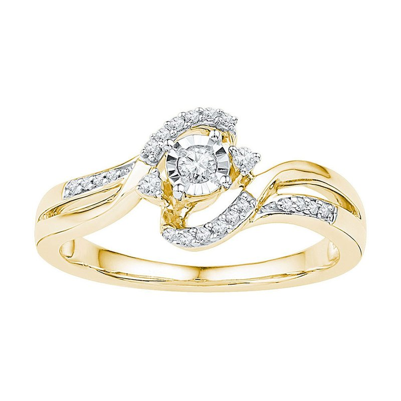 Gold-N-Diamonds, Inc. (Atlanta) 10kt Yellow Gold Womens Round Diamond Solitaire Bridal Wedding Engagement Ring 1/6 Cttw