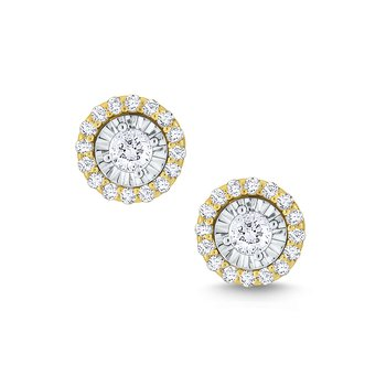 Round Halo Diamond Studs Set in 14 Kt. Gold