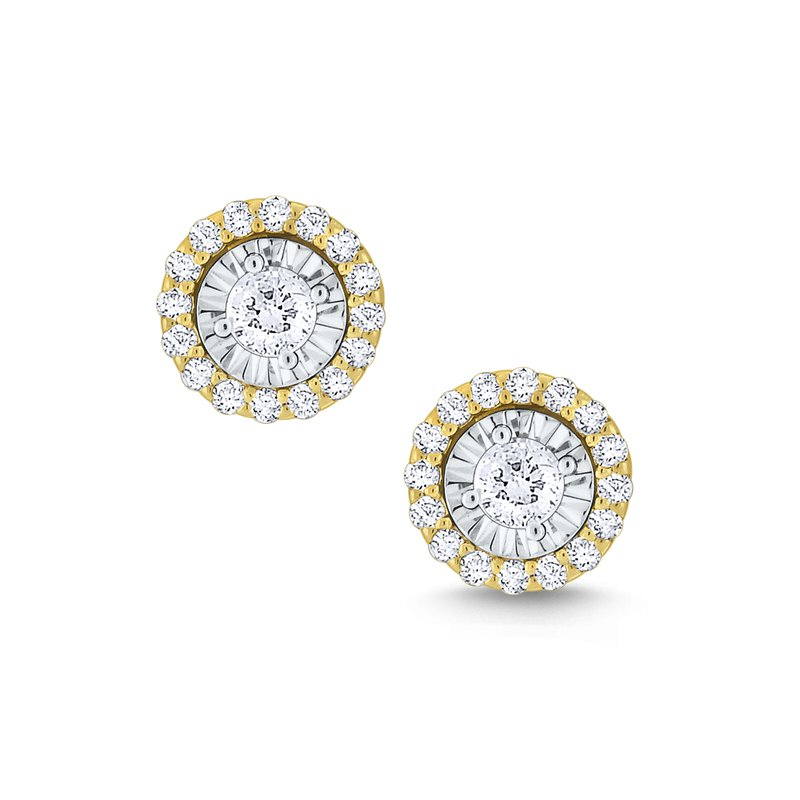 KC Designs Round Halo Diamond Studs Set in 14 Kt. Gold